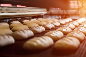 Lines of loaves of bread being baked